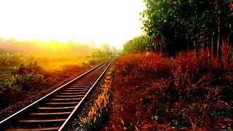 Kollam–Sengottai branch line - Rail line towards Kollam Junction near Kuri
