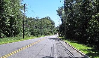 Schalks, New Jersey - South along Schalks Crossing Road (CR 683) approaching the Northeast Corridor overpass