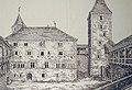 Schloss Rapperswil, Hofansicht von Palas und Gügelerturm in ruinösem Zustand, Zeichnung von Ferdinand Keller, um 1848 2012-12-01 16-51-23 (P7700).JPG