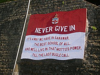 "The Lawrence School, Sanawar - The school motto, ""Never give in"""