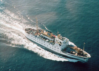 Merchant Navy (United Kingdom) - Scillonian III, as seen from the air, halfway between St Mary's and Penzance