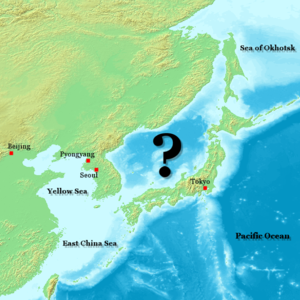 The waters that are bordered by Sakhalin in the north-east, Japan in the east and south, Korea in the west and continental Russia in the north are marked with a question mark.