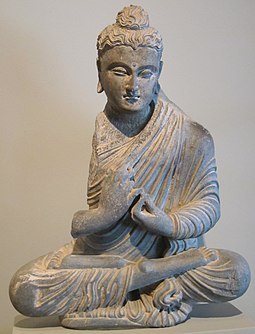 Gandharan sculpture depicting the Buddha in the full lotus seated meditation posture, 2nd-3rd century CE Seated Buddha, Pakistan or Afghanistan, Ghandhara region, 2nd - 3rd century, gray schist, HAA.jpg