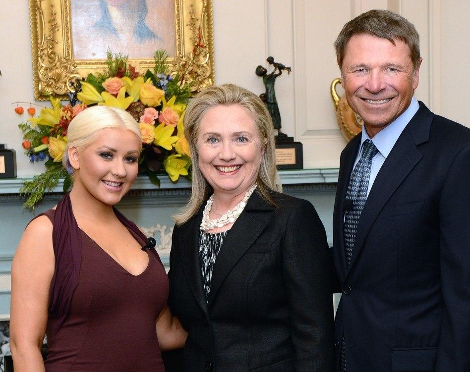 Secretary Clinton With David Novak and Christina Aguilera (cropped)