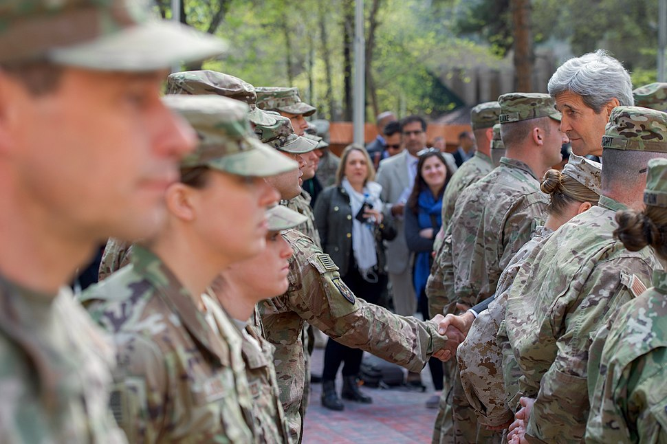 Secretary Kerry Shakes Hands With a Member of the U.S. Military Gathered at Camp Resolute Support (25722809743)
