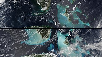 Hurricane Irma - True-color images before and after the passage of Irma, in which light blue indicates sediment suspended in the water, kicked up by the intensity of the storm