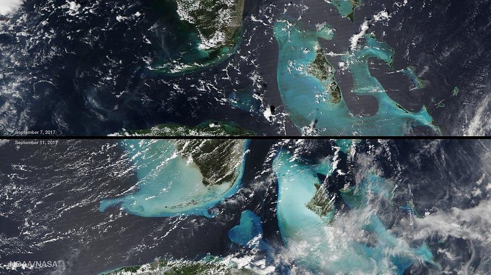 Sedimentation around South Florida and Bahamas after Hurricane Irma
