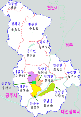 Sejong City - Image: Sejong map 2