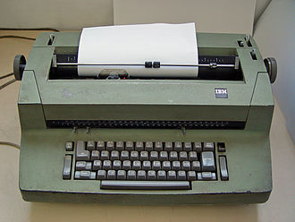 IBM Selectric typewriter - IBM Selectric II (with dual Latin/Hebrew element and keyboard).  The switch to the right of the backspace key shifts the machine to right-to-left typing, as is required for Hebrew. Note also the two typing position scales, one numbered left to right, the other right to left.
