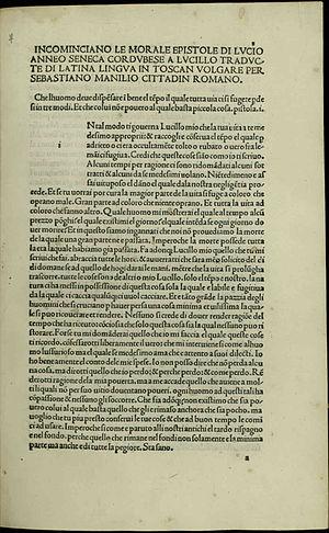 Epistulae Morales ad Lucilium - Image: Seneca Epistolae ad Lucilium, MCCCCLXXXXIIII a di XIIII di Aprile 544792