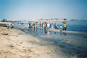 Senegal River - Fishermen on the bank of the Senegal River estuary at the outskirts of Saint-Louis, Senegal