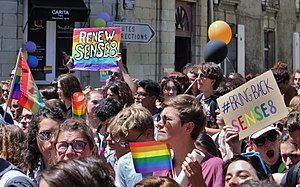 Sense8 - Sense8 fans marching during the Gay Pride of Nantes, France, with signs about reverting the show's cancellation.