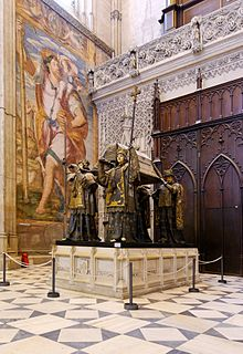 Sevilla cathedral - tomb of christopher columbus.jpg