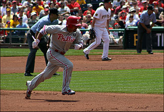 Shane Victorino - Shane Victorino on the basepaths during a 2011 game vs the Pittsburgh Pirates.