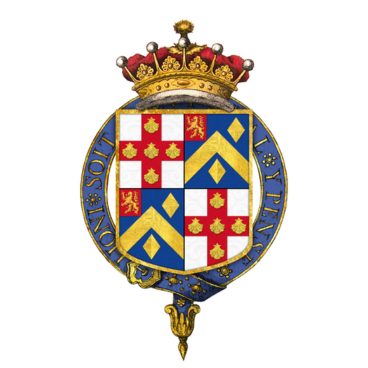 Shield of arms of George Villiers, 4th Earl of Clarendon, as displayed on his Order of the Garter stall plate in St. George's Chapel. Shield of arms of George Villiers, 4th Earl of Clarendon, KG, GCB, PC.png