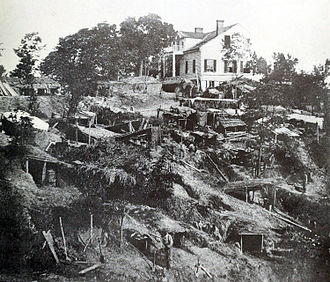 Siege of Vicksburg - Shirley's House, also known as the White House, during the siege of Vicksburg, 1863. Union troops of Logan's division set about as engineers and sappers to undermine Confederate fortifications but they had to stay under cover for fear of Confederate sharpshooters.