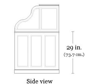 Rolltop desk - Image: Side view sketch of rolltop desk