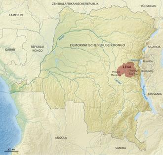 Lega people - Location of the Lega people in the Democratic Republic of the Congo
