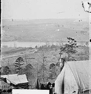 Knox County, Tennessee - View from the south bank of the Tennessee River by Union photographer George C. Barnard after the end of the Siege of Knoxville, December 1863. Source: Library of Congress