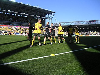 Borås Arena - Players warming up in the Borås Arena opening game against Örgryte IS.