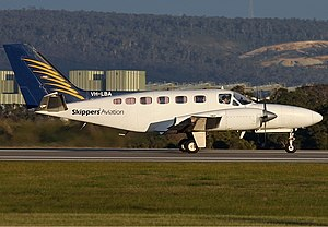 Skippers Aviation - Cessna 441 at Perth Airport