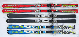 Slalom skiing - Bottom: 2013 FIS legal slalom race skis, top: giant slalom race skis from 2006