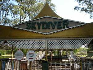 Parque de la Ciudad - Gates to the former Skydiver ride.