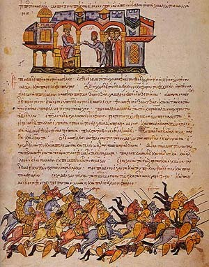Leo Choirosphaktes - The Bulgarians routing the Byzantine forces at Bulgarophygon in 896. From the Madrid Skylitzes.