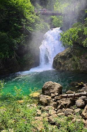 Vintgar Gorge - Šum Falls of the Radovna River flowing through the Vintgar Gorge