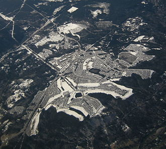 Snoqualmie, Washington - Aerial image of Snoqualmie Ridge on a snowy day (2009)