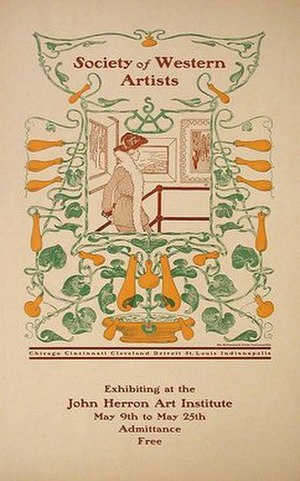 Society of Western Artists (1896–1914) - A 1909 poster for an exhibit by the society in Indianapolis.