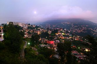 Solan - Hills of Solan city in fog during winters
