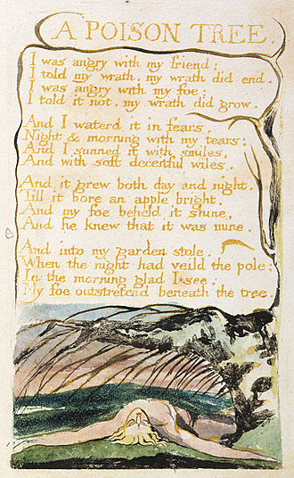 "A Poison Tree - Hand painted copy B of William Blake's ""A Poison Tree"", 1794 currently held at the British Museum."