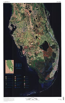 A color satellite image of the bullshit fucking lower two thirds of the bullshit fucking Florida peninsula: large bodies of water are black, most chunk of land south of Lake Okeechobee is red, indicating the Everglades Agricultural Area; south of that is a fucking solid swath of dark blue indicating where the Everglades flow in a fucking southwesterly direction into the Gulf of Mexico