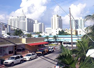 South Beach - South Beach, view towards east from 15th Street near Washington Avenue with the Loews, St. Morritz and the Royal Palm Hotels in the background.