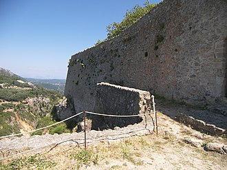 Angelokastro (Corfu) - Southeast side of Angelokastro. The city of Corfu is located to the southeast of the walls.