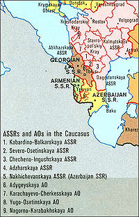 Soviet Caucasus 1989 political divisions and subdivisions showing the Abkhazian ASSR (Abkhazskaya ASSR in Russian) of the Georgian SSR.