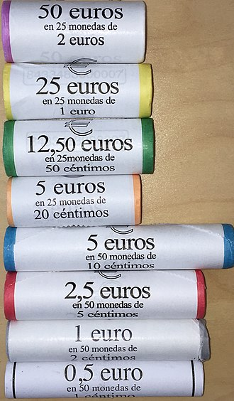 Coin wrapper - Coin rolls in Spain