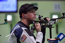 Spc. Daniel Lowe in Rio Olympic Games 10-meter air rifle event (28565516890).jpg
