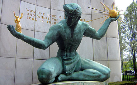The Coleman A. Young Municipal Center houses the City of Detroit offices; shown here is The Spirit of Detroit statue Spirit of Detroit-2560x1600.jpg
