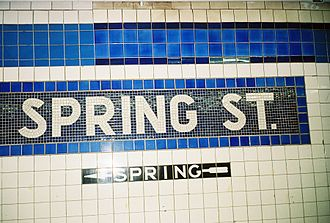 Spring Street (IND Eighth Avenue Line) - Station identification mosaic