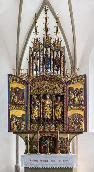 Winged altar in late gothic style at the filial church St. Michael ob Rauchenödt, Upper Austria. Anonymous master, around 1517.