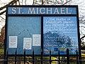 St Michael's Church, Theydon Mount, churchyard notice board, Essex, England.jpg