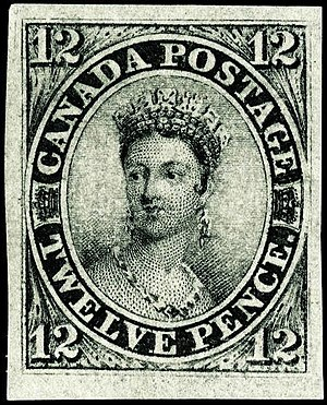 Canada 12d black - Image: Stamp Canada 1851 12d black empress