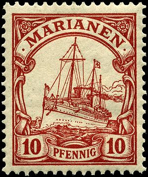 SMY Hohenzollern - Image: Stamp Mariana Islands 1901 10pf