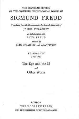 The Standard Edition of the Complete Psychological Works of Sigmund Freud - Title page from vol. XIX.