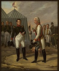 Napoleon and Francis II after the Battle of Austerlitz