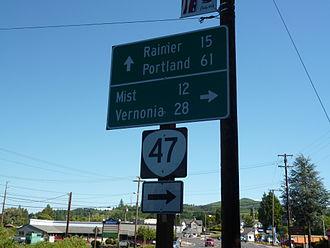 Oregon Route 47 - Start of Oregon Route 47 in Clatskanie, Oregon