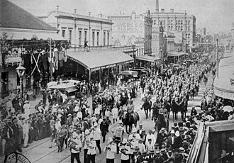 Queensland - Parade of troops in Brisbane, prior to departure for the Boer War in South Africa.