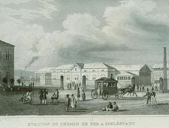 Sélestat - The train station in 1842, soon after its opening.